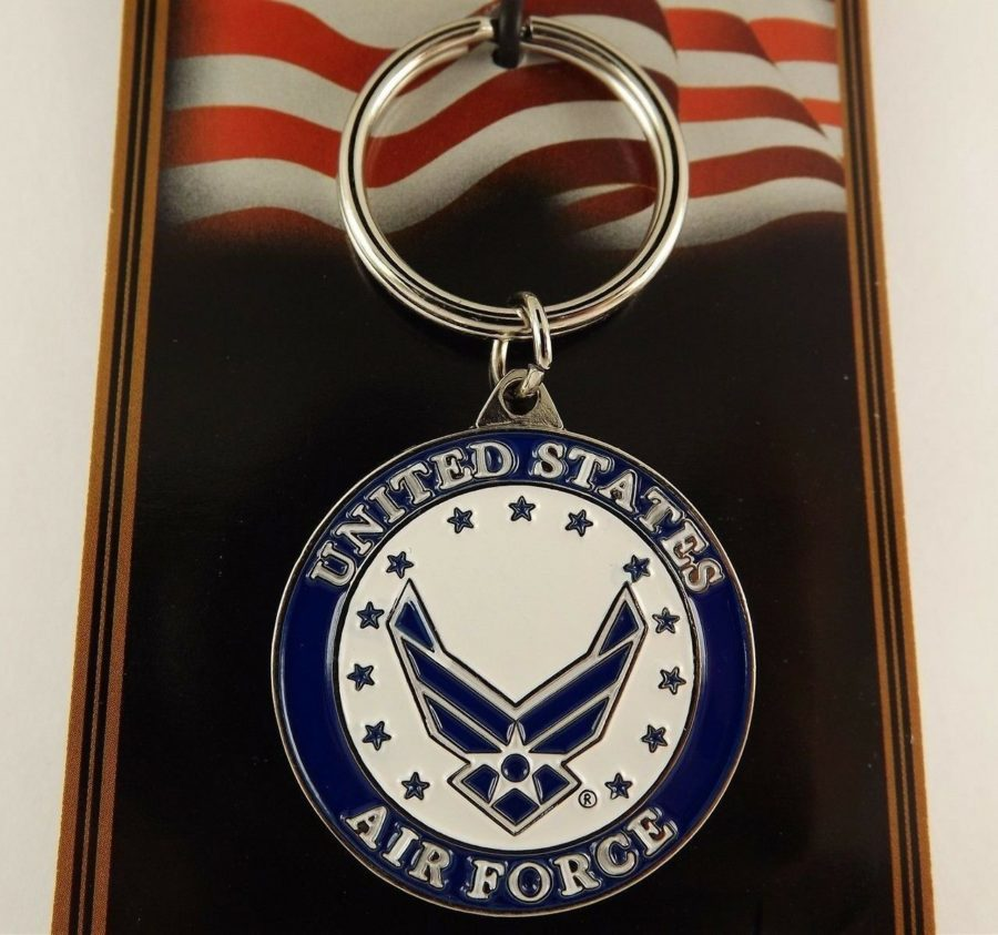 PEWTER ENAMEL KEY RING KEYCHAIN NEW UNITED STATES AIR FORCE LOGO II 1