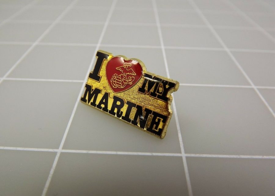 QUALITY MADE LAPEL HAT PIN ENAMEL I LOVE MY MARINE USMC 1
