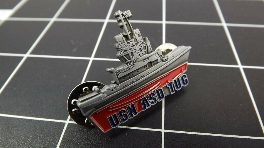 "BRAND NEW Lapel Pin ""USN NAVY TUG"" ENAMELED LIFETIME GUARANTEE SHIP 3"