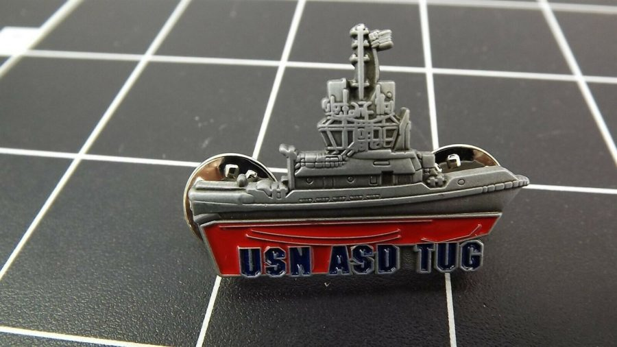 "BRAND NEW Lapel Pin ""USN NAVY TUG"" ENAMELED LIFETIME GUARANTEE SHIP 1"