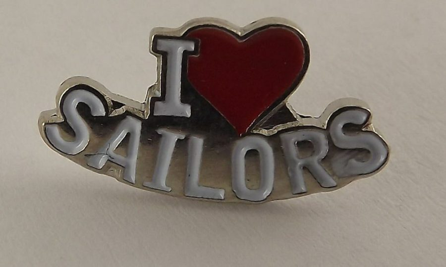 "QUALITY MADE LAPEL HAT PIN ENAMEL "" I LOVE SAILORS"" USN 1"