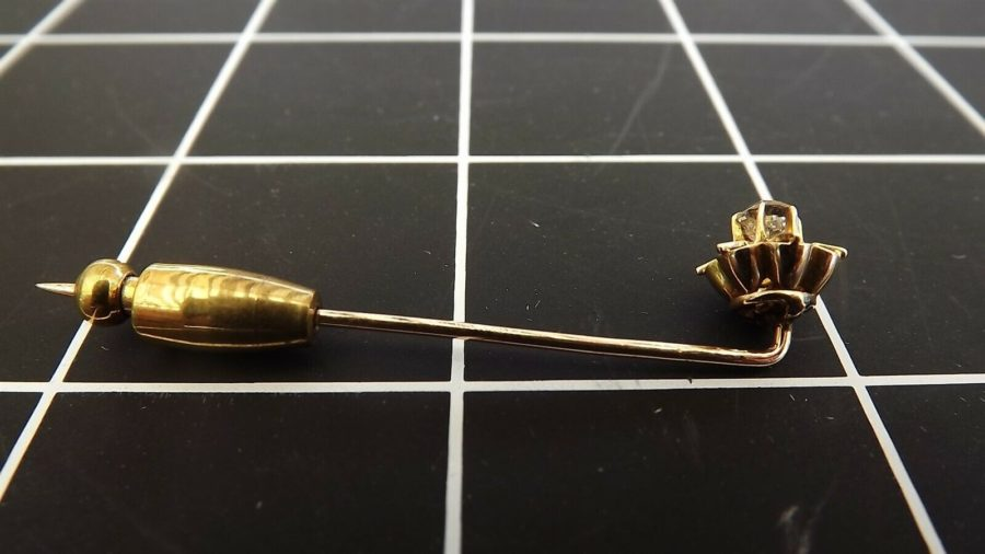 Antique 14KT Y/G Old Mine-cut DIAMOND Buttercup Mounting Stick Pin diamond measures over 4mm in diameter 5