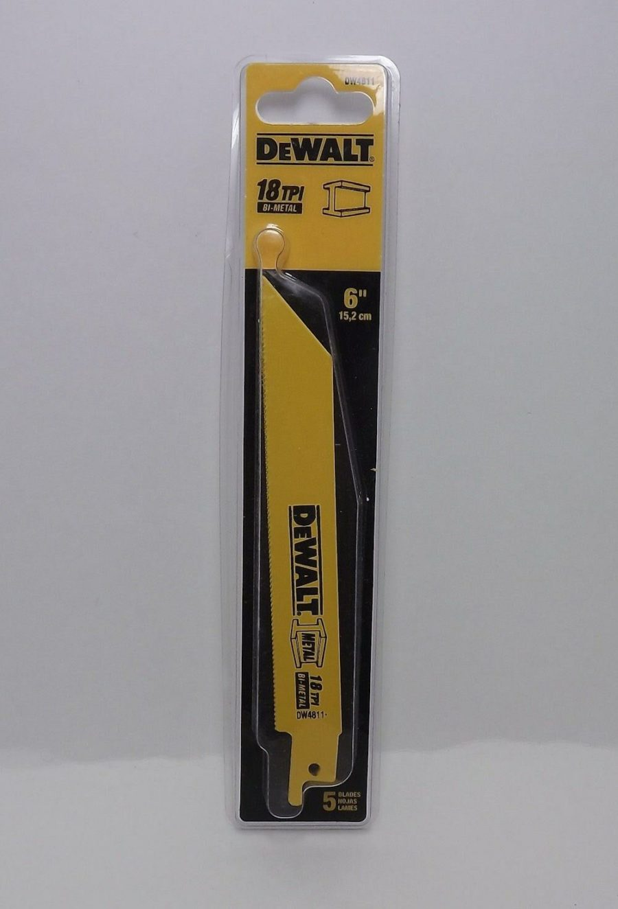 "Dewalt DW4811 Reciprocating 6"" Saw Blades 18 TPI NEW 5-Blade Pack 1"