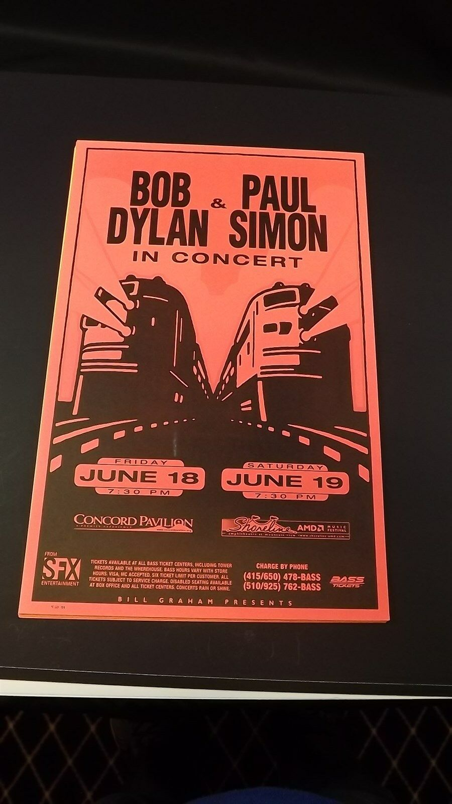 Genuine 1999 BOB DYLAN & PAUL SIMON In Concert Shoreline Poster Flyer Ad 1