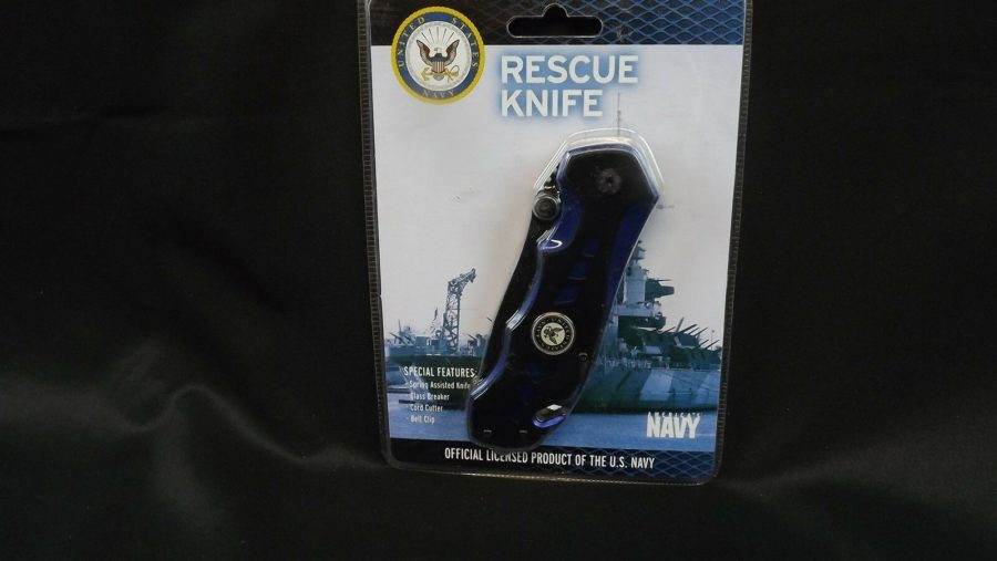 "U.S. NAVY LICENSED Assisted Opening RESCUE Knife CORD CUTTER GLASS BREAK 8"" CLIP 1"