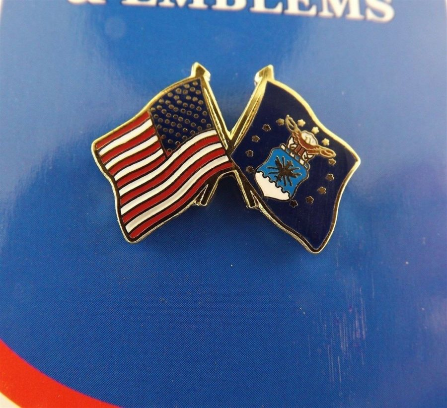 "BRAND NEW Lapel Pin USA USAF Crossed Flags Enamel 1"" AIR FORCE AMERICAN FLAG  Copy 1"