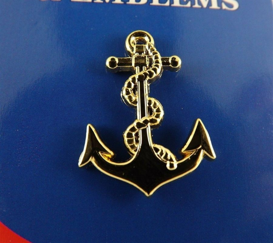 "BRAND NEW Lapel Pin United States Navy ANCHOR Gold Tone 1"" 1"