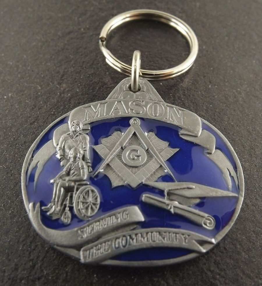 New Masonic Mason Free Mason Enameled Key Chain Square & Compass 2