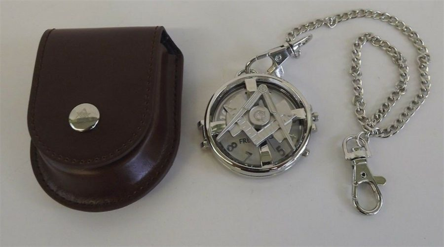 New Silver Tone Masonic Mason Pocket Watch With Protective Case Square & Compass 1